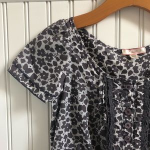 Lux/Anthro Crepe Earth Tone Floral Blouse